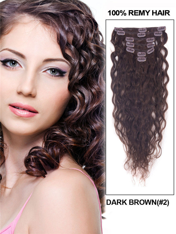 Dark Brown(#2) Deluxe Kinky Curl Clip In Human Hair Extensions 7 Pieces-np