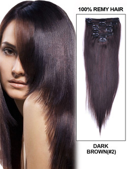 Dark Brown(#2) Premium Silky Straight Clip In Hair Extensions 7 Pieces cih025