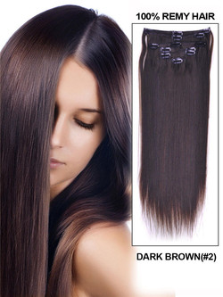 Dark Brown(#2) Deluxe Silky Straight Clip In Human Hair Extensions 7 Pieces cih026