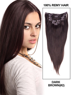 Dark Brown(#2) Ultimate Silky Straight Clip In Remy Hair Extensions 9 Pieces cih027