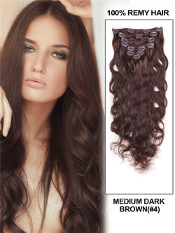 Medium Brown(#4) Deluxe Body Wave Clip In Human Hair Extensions 7 Pieces cih029