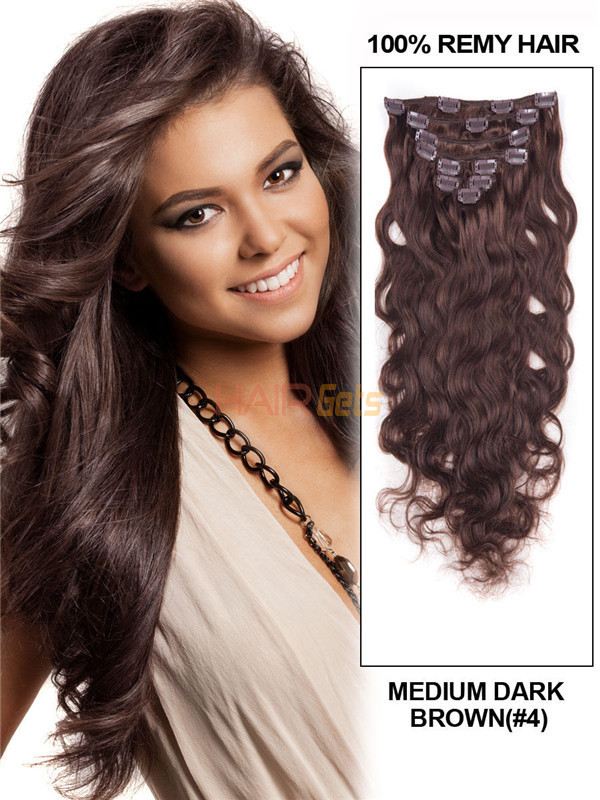 Medium Brown4 Ultimate Body Wave Clip In Remy Hair Extensions 9