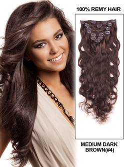 Medium Brown(#4) Ultimate Body Wave Clip In Remy Hair Extensions 9 Pieces