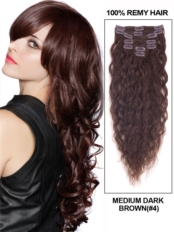 Medium Brown(#4) Premium Kinky Curl Clip In Hair Extensions 7 Pieces cih031