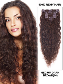 Medium Brown(#4) Deluxe Kinky Curl Clip In Human Hair Extensions 7 Pieces cih032