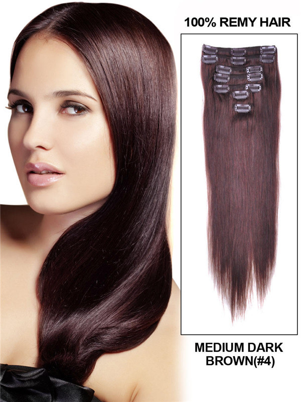 Medium Brown(#4) Deluxe Straight Clip In Human Hair Extensions 7 Pieces