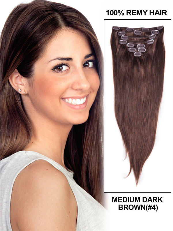 Medium Brown(#4) Ultimate Straight Clip In Remy Hair Extensions 9 Pieces cih036
