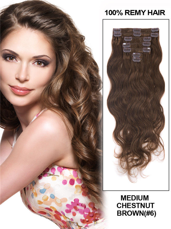 Medium Chestnut Brown(#6) Premium Body Wave Clip In Hair Extensions 7 Pieces cih037