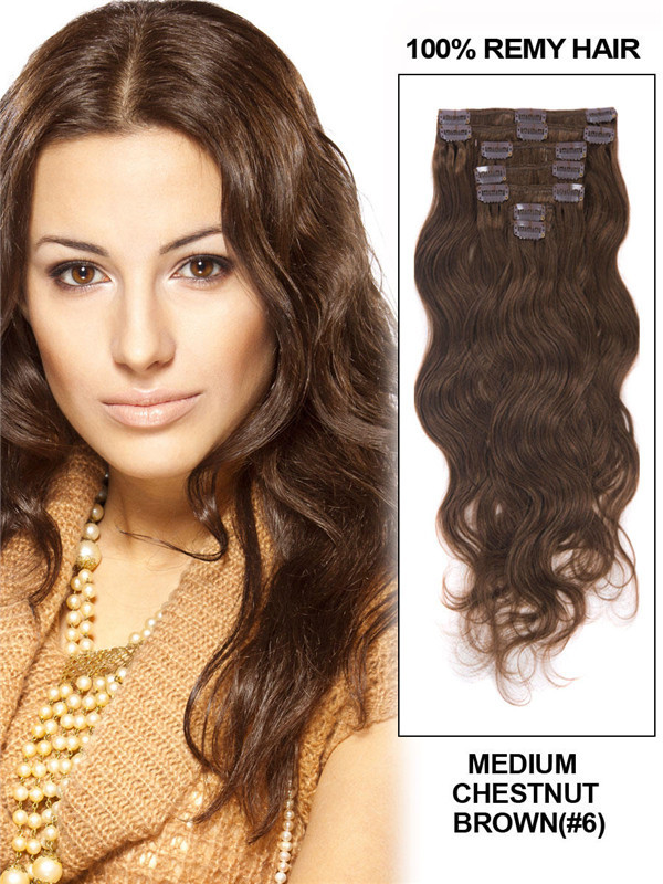 Medium Chestnut Brown(#6) Deluxe Body Wave Clip In Human Hair Extensions 7 Pieces