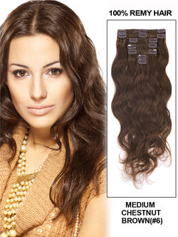 Medium Chestnut Brown(#6) Deluxe Body Wave Clip In Human Hair Extensions 7 Pieces cih038