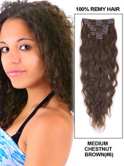 Medium Chestnut Brown(#6) Deluxe Kinky Curl Clip In Human Hair Extensions 7 Pieces cih041