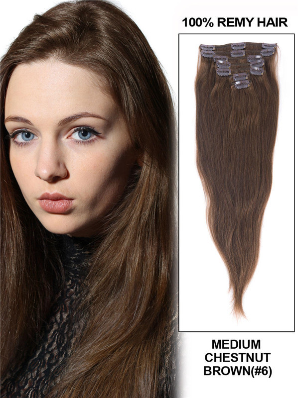 Medium Chestnut Brown(#6) Deluxe Straight Clip In Human Hair Extensions 7 Pieces