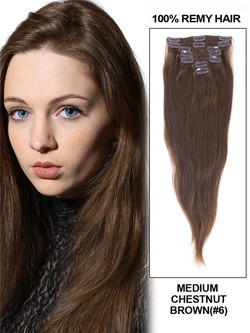 Medium Chestnut Brown(#6) Deluxe Straight Clip In Human Hair Extensions 7 Pieces cih044