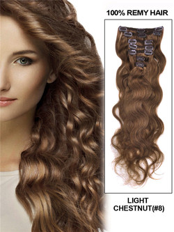 Light Chestnut(#8) Premium Body Wave Clip In Hair Extensions 7 Pieces cih046