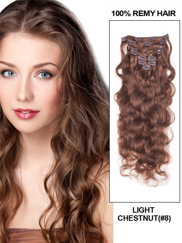Light Chestnut(#8) Deluxe Body Wave Clip In Human Hair Extensions 7 Pieces-np