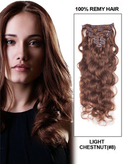 Light Chestnut(#8) Ultimate  Body Wave Clip In Remy Hair Extensions 9 Pieces cih048