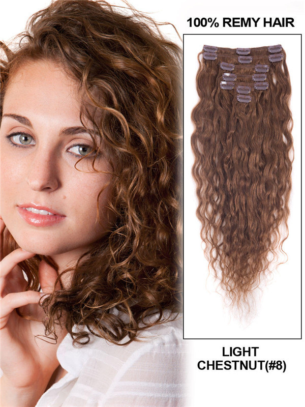 Light Chestnut(#8) Premium Kinky Curl Clip In Hair Extensions 7 Pieces