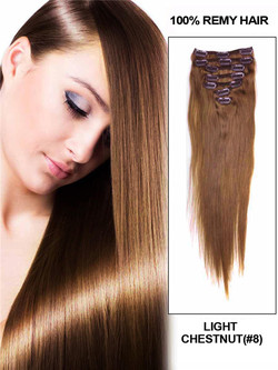 Light Chestnut(#8) Premium Straight Clip In Hair Extensions 7 Pieces cih052
