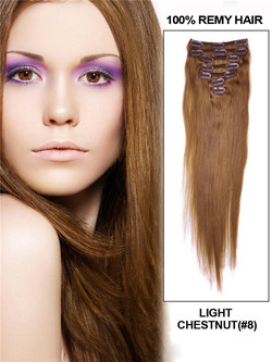 Light Chestnut(#8) Deluxe Straight Clip In Human Hair Extensions 7 Pieces cih053