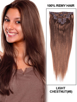 Light Chestnut(#8) Ultimate Straight Clip In Remy Hair Extensions 9 Pieces cih054
