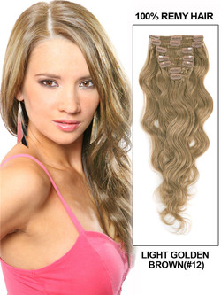 Light Golden Brown(#12) Premium Body Wave Clip In Hair Extensions 7 Pieces cih055