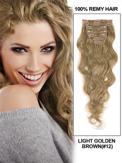 Light Golden Brown(#12) Deluxe Body Wave Clip In Human Hair Extensions 7 Pieces