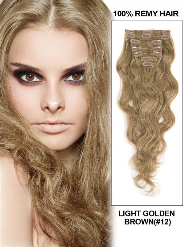 Light Golden Brown(#12) Ultimate Body Wave Clip In Remy Hair Extensions 9 Pieces-np cih057