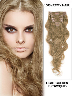 Light Golden Brown(#12) Ultimate Body Wave Clip In Remy Hair Extensions 9 Pieces-np