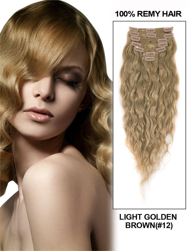 Light Golden Brown(#12) Premium Kinky Curl Clip In Hair Extensions 7 Pieces cih058
