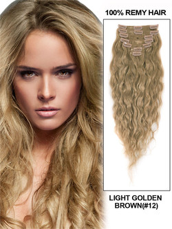Light Golden Brown(#12) Deluxe Kinky Curl Clip In Human Hair Extensions 7 Pieces
