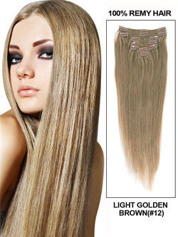Light Golden Brown(#12) Premium Straight Clip In Hair Extensions 7 Pieces