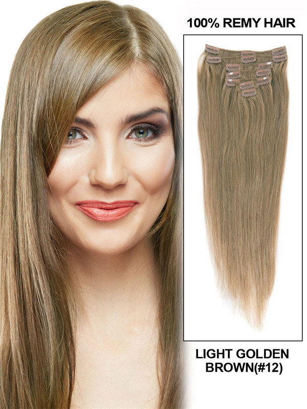 Light Golden Brown(#12) Deluxe Straight Clip In Human Hair Extensions 7 Pieces cih062