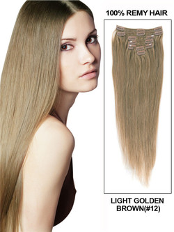 Light Golden Brown(#12) Ultimate Straight Clip In Remy Hair Extensions 9 Pieces-np
