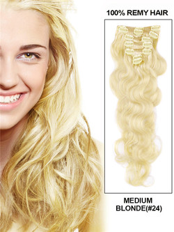 Medium Blonde(#24) Premium Body Wave Clip In Hair Extensions 7 Pieces