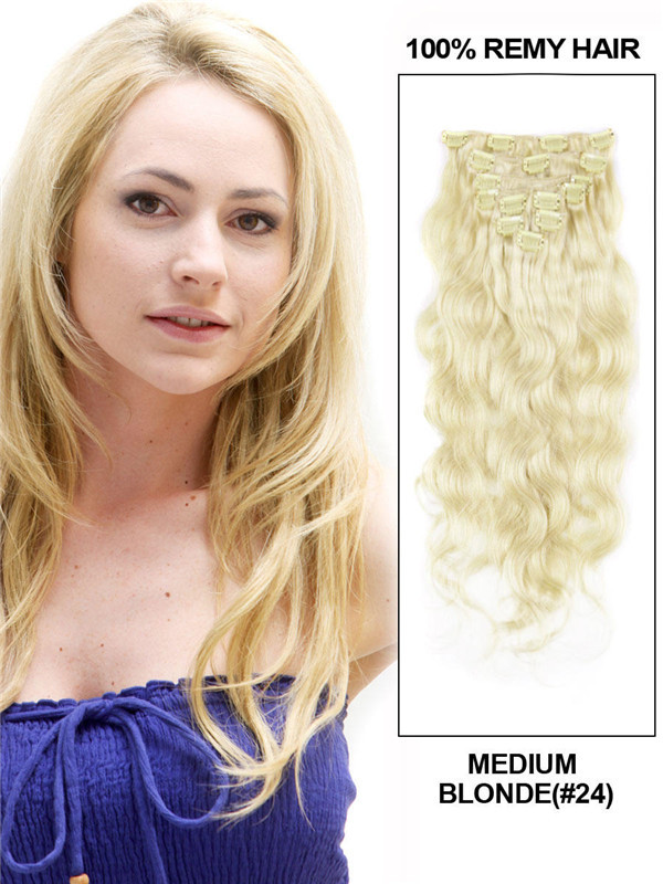 Medium Blonde(#24) Deluxe Body Wave Clip In Human Hair Extensions 7 Pieces-np cih065