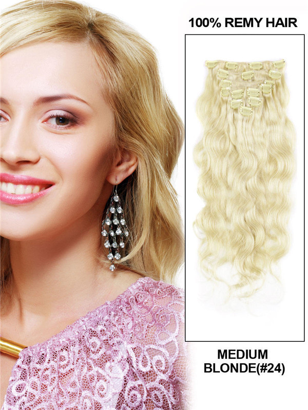 Medium Blonde(#24) Ultimate Body Wave Clip In Remy Hair Extensions 9 Pieces cih066