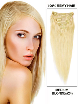 Medium Blonde(#24) Premium Straight Clip In Hair Extensions 7 Pieces cih067