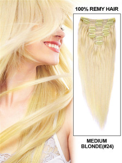 Medium Blonde(#24) Deluxe Straight Clip In Human Hair Extensions 7 Pieces