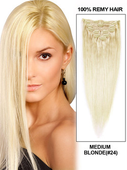 Medium Blonde(#24) Ultimate Straight Clip In Remy Hair Extensions 9 Pieces