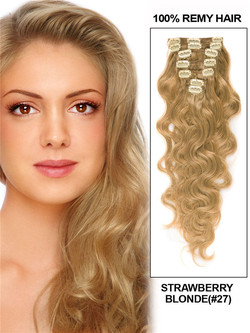 Strawberry Blonde(#27) Premium Body Wave Clip In Hair Extensions 7 Pieces