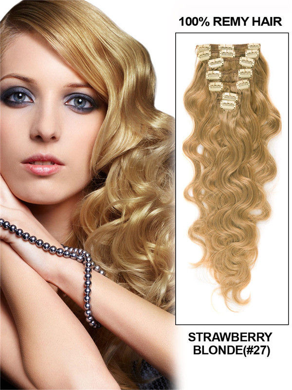 Strawberry Blonde(#27) Deluxe Body Wave Clip In Human Hair Extensions 7 Pieces