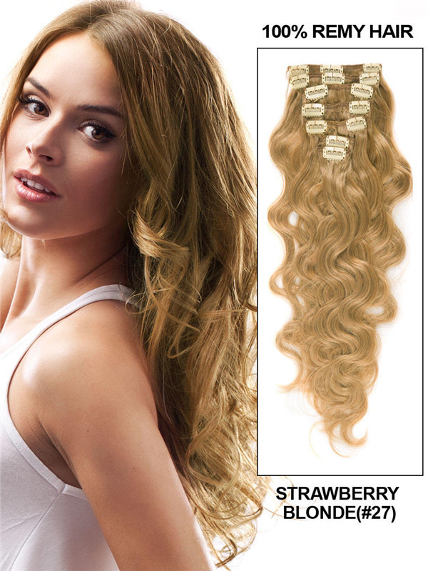 Strawberry Blonde(#27) Ultimate Body Wave Clip In Remy Hair Extensions 9 Pieces-np