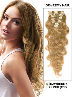 Strawberry Blonde(#27) Ultimate Body Wave Clip In Remy Hair Extensions 9 Pieces-np cih072