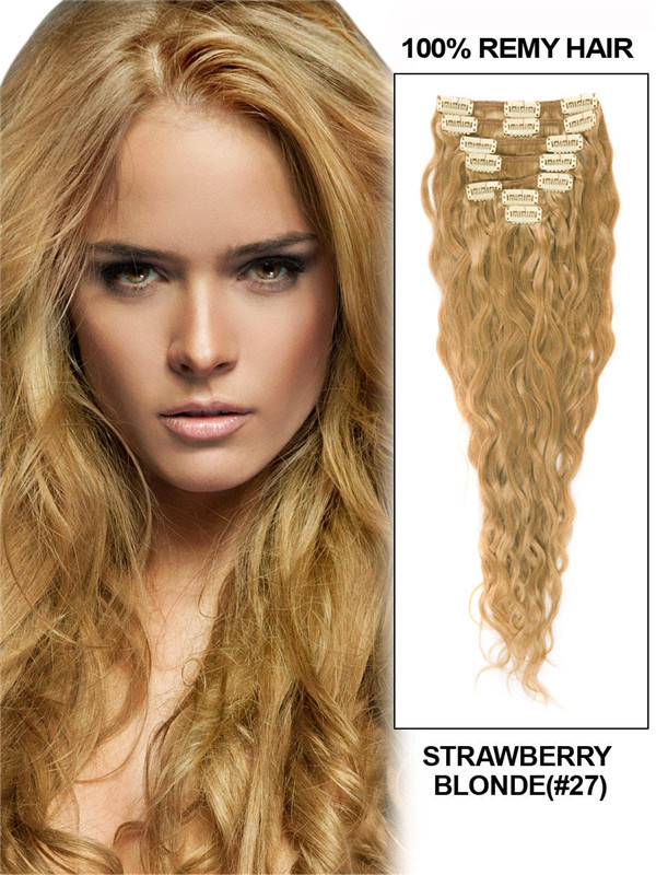 Strawberry Blonde(#27) Premium Kinky Curl Clip In Hair Extensions 7 Pieces