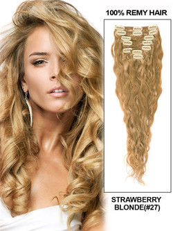 Strawberry Blonde(#27) Deluxe Kinky Curl Clip In Human Hair Extensions 7 Pieces