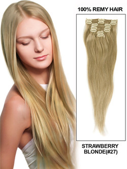Strawberry Blonde(#27) Deluxe Straight Clip In Human Hair Extensions 7 Pieces