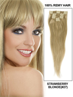 Strawberry Blonde(#27) Ultimate Straight Clip In Remy Hair Extensions 9 Pieces-np
