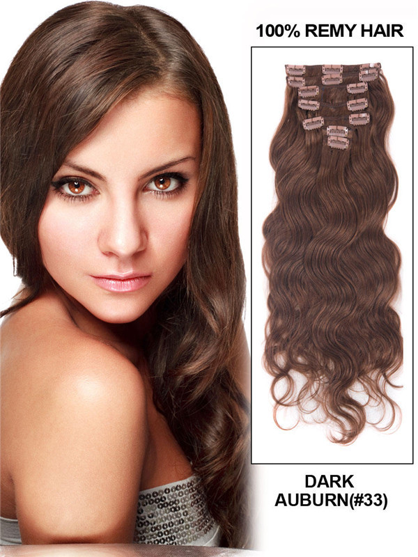 Dark Auburn(#33) Premium Body Wave Clip In Hair Extensions 7 Pieces cih079