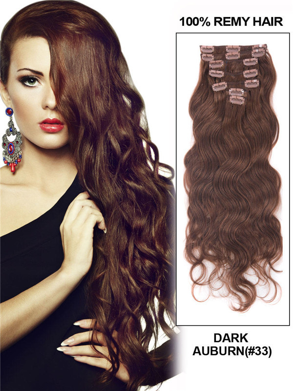 Dark Auburn(#33) Deluxe Body Wave Clip In Human Hair Extensions 7 Pieces cih080