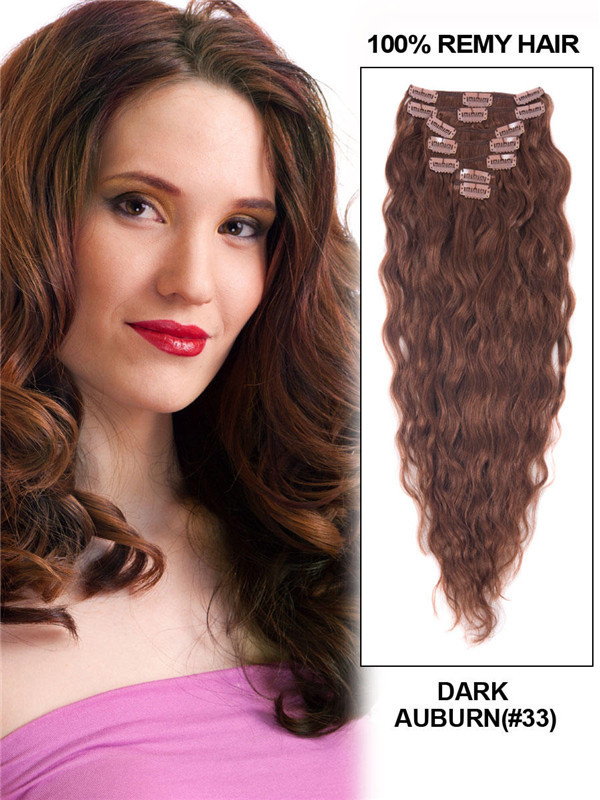 Dark Auburn(#33) Premium Kinky Curl Clip In Hair Extensions 7 Pieces cih082